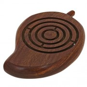 Wooden Labyrinth Board Game Ball in Maze Puzzle Handcrafted in India Mango Shape, Size: 17.8 CM