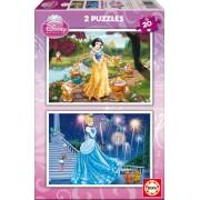 EDUCA 15593 Puzzle Cardboard Cenușăreasa şi Albă Ca Zăpada 2x20 bucăţi