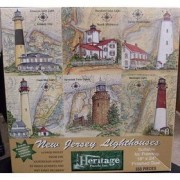 New Jersey Lighthouses 550 Piece Puzzle by Donna Elias Featuring Absecon Inlet Lighthouse in Atlanti