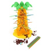Tumbling Monkeys Games- created for 3+ kids build a colossal tree figure and insert a dozen of colorful sticks in a tricky pattern on which balances the monkey miniatures, do not let the monkeys fall