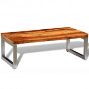 Solid Sheesham Wood Coffee Table with Steel Leg