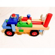 Fun Time Supplies Educational Toys For 3 Year Olds, Fine Motor Skills Wooden Truck, Lifetime Warranty! Best Preschool Early Education Toy For Toddlers, Children Wooden Cars. Best Value.