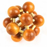 Unlock Brain Cell Shaped Wooden Puzzle Gene DNA Ball Toy - Brown + Wood