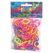 Rainbow Loom Latex-freie Gummibänder Silicone Neon Mix Inh.: 300 Bänder 100 % Silikon + 12 C-Clips
