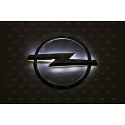 Эмблема со светодиодной подсветкой Opel белого цвета «98х119»