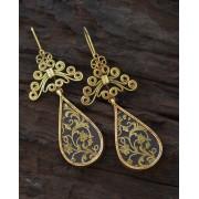 Ethno-Ochre Silver Earrings