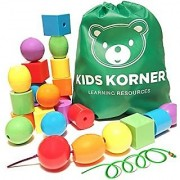 Kids Korner 24 Lacing Beads Set for Toddlers Jumbo 6 Colors 4 Shapes Bag 2 Stringing Bead Laces and Travel Backpack with Activity eBook