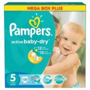 Scutece Active Baby 5 Junior Mega Box Plus, 126 buc, Pampers