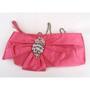 Satin Pink Evening Bag with Diamante's