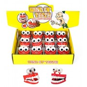 12 Pack Vampire Halloween Toy Novelty Party Favors Wind-up Chattering Chomping Teeth with Eyes (One Dozen)