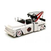 1955 Chevy Stepside Tow Truck w/ baby moon 1/24 White - Antique Toy Trucks - Jada Diecast