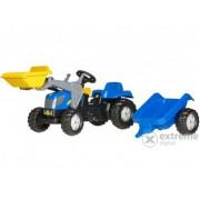 Tractor cu pedale și cupă Rolly Kid New Holland T 7040 cu remorcă