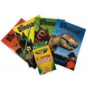 4 Dinosaur Activity Books - Fun Facts, Puzzles, Jokes, Activities - 10 Color Markers, Pencil, Sharpener - Good Fun For Birthday, Valentine, Easter, Get Well, Jurassic Lover Gift Set