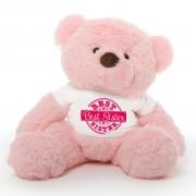 2 feet big pink fur face teddy bear wearing special Best Sister T-shirt