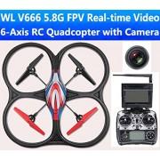 RC cuadricóptero - Dron WLToys V666 5.8 GHz FPV - Cámara HD - Monitor Tiempo real