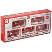 Die Cast Fire Cars Fleet Alloy Toy Car Models Set Of 5 Vehicles A Pick Up Truck, Sports Car, Drag Racing Car, Jeep And A Sleek Looking Race Car
