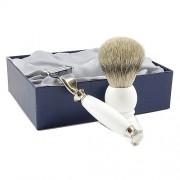 RESIN WHITE - 2-częściowy zestaw do golenia, pędzel BORSUK SILVER TOP, SOLINGEN-KIEHL