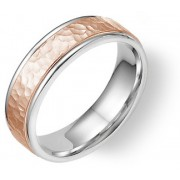 14K White and Rose Gold Hammered Wedding Band Ring