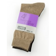 Lowes Crew Business Socks 4 Pack - Natural 6-10