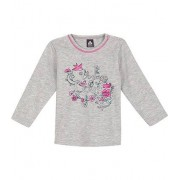 Trigema Baby Shirt Blumenprint Größe: 80 Material: 47 % Baumwolle, 47 % Polyester, 6 % Elastan Farbe: grau-melange