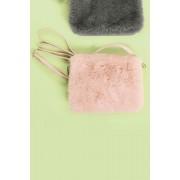 Womens Next Faux Fur Across Body Bag - Pale Pink