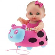 ADORABLE LIL' CUTESIES LADYBUG PULL-ALONG SET - 8.5 All vinyl water friendly doll for children Ages 2+ - Designed by Berenguer by JC Toys