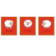 Inepien drieluik schilderij rood uni