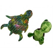 """2 Pack Plush Turtles - 11"""" Big Eyed Chenille Green Turtle with 16"""" Plush Shiny Multicolored Turtle"""