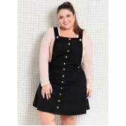 Salopete Plus Size Preta com Botoes Quintess