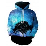 rosegal 3D Tree Galaxy Print Pullover Hoodie