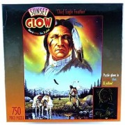 Sunset Glow Chief Eagle Feather 750 Piece Puzzle Glows in Orange Blue and Yellow