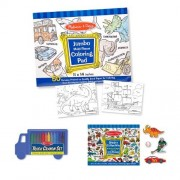 4 Item Bundle: Melissa & Doug 500 Count Blue Sticker Collection,Jumbo Coloring Pad,Truck Crayon Set