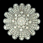 Big Swarovski Crystal Starburst Flower Brooch for Wedding Dress