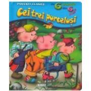 Cei trei purcelusi - Povesti clasice cu 6 puzzle din 6 piese