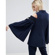 ASOS Tailored Cold Shoulder Blazer with Sleeve Drama - Navy (Sizes: , , , , , , , )