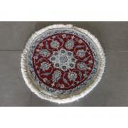 Tapete Persa Nain Redondo Pequeno Lã e Fio de Seda 0,27m