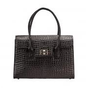 Damen Mock Croc Leder Aktentasche in Schwarz - Dokumententasche, Aktenkoffer, Businesstasche, Laptoptasche