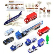 International Airport Plane Field Mini Diecast Toy Vehicle Playset w/ Variety of Vehicles Accessories
