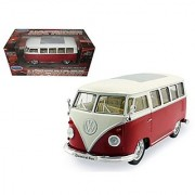 1962 VW Classic Bus Low Rider 1:24 Scale (Red/White Top)