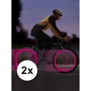 Roze LED ventiellichtjes voor op je fiets