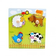 Set of 3 Farm Pegged Puzzles Wooden Animals Puzzle Age Range 2 Years 14.8*14.8CM