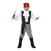 Smiffy's Children's Pirate Costume, Shirt, Trousers, Boot Covers, Headscarf, Belt, Size:M, Colour:Black and White, 25761