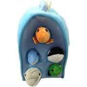 Plush Ocean Animal House with Sea Animals - Five (5) Stuffed Animal Sea Animals (Dolphin, Whale, Tur