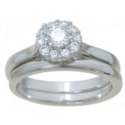 Antique Petite Cubic Zirconia Bridal Wedding Engagement Ring Set