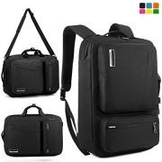 SOCKO 17.3 Inch Convertible Three Multipurpose Laptop Bag Muti-functional Backpack / Briefcase / Shoulder Bag / Messenger Bag Include Strap For Dell / Toshiba / HP / Lenovo / Men/Women (Black+Black)