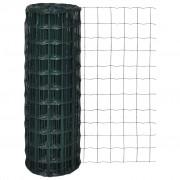 vidaXL Оградна мрежа с PVC покритие, 76 х 63 см размер на дупките, 10 1.2 м