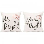 Mr Right and Mrs Always Right Double Heart Couple Valentine Cushions