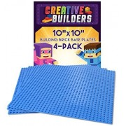 "Creative Builders Set Of 4 Blue Baseplates | Large 10"" X 10"" 