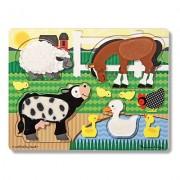 Puzzle de lemn Atinge si descopera Animale de la ferma Melissa and Doug