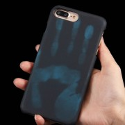 For iPhone 7 Plus Heat Sensitive Phone Case Silicone Protective Case Back Cover(Black)
